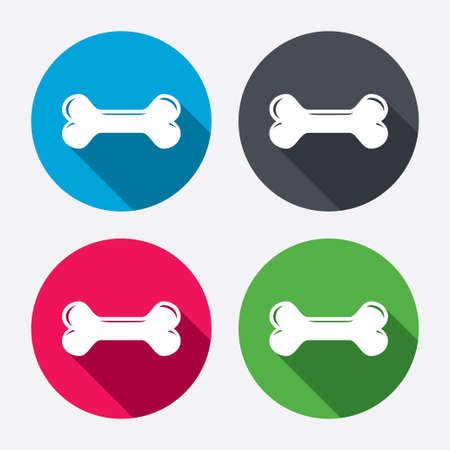 Dog bone sign icon. Pets food symbol. Circle buttons with long shadow. 4 icons set. Vector Vector