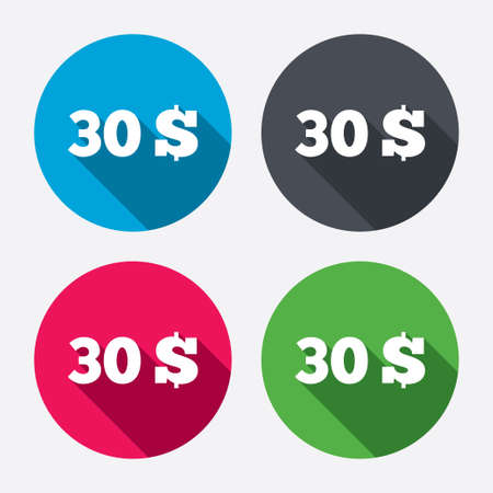 usd: 30 Dollars sign icon. USD currency symbol. Money label. Circle buttons with long shadow. 4 icons set. Vector Illustration