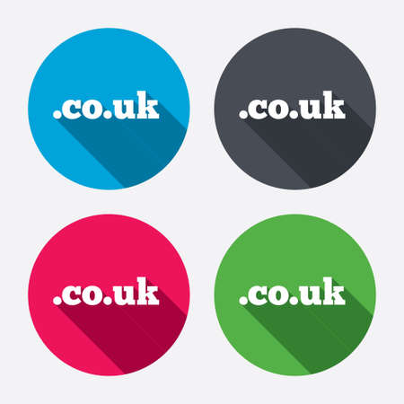 subdomain: Domain CO.UK sign icon. UK internet subdomain symbol. Circle buttons with long shadow. 4 icons set. Vector