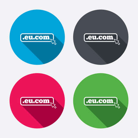 subdomain: Domain EU.COM sign icon. Internet subdomain symbol with cursor pointer. Circle buttons with long shadow. 4 icons set. Vector