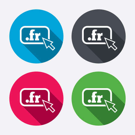 top pointer: Domain FR sign icon. Top-level internet domain symbol with cursor pointer. Circle buttons with long shadow. 4 icons set. Vector