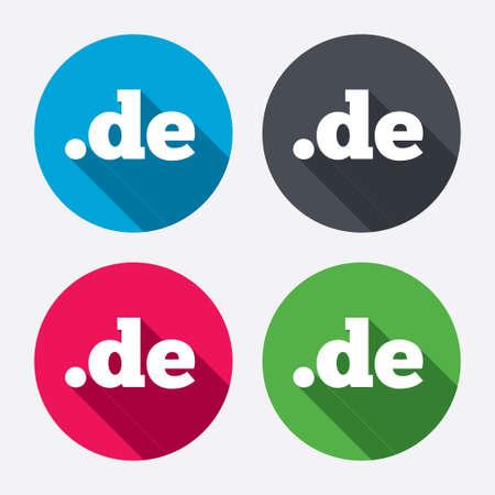 Domain DE sign icon. Top-level internet domain symbol. Circle buttons with long shadow. 4 icons set. Vector Vector