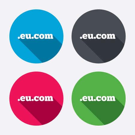 subdomain: Domain EU.COM sign icon. Internet subdomain symbol. Circle buttons with long shadow. 4 icons set. Vector Illustration