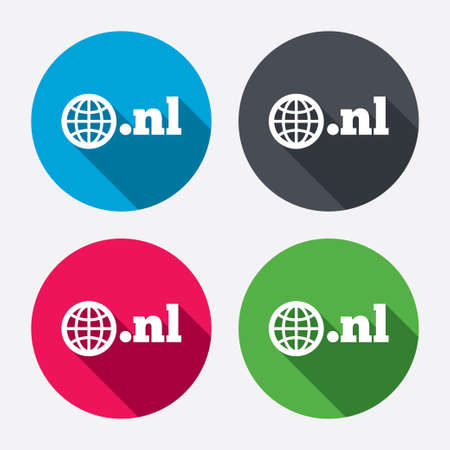 nl: Domain NL sign icon. Top-level internet domain symbol with globe. Circle buttons with long shadow. 4 icons set. Vector