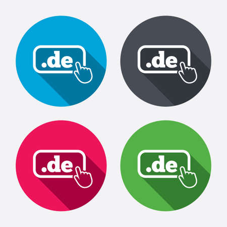 top pointer: Domain DE sign icon. Top-level internet domain symbol with hand pointer. Circle buttons with long shadow. 4 icons set. Vector