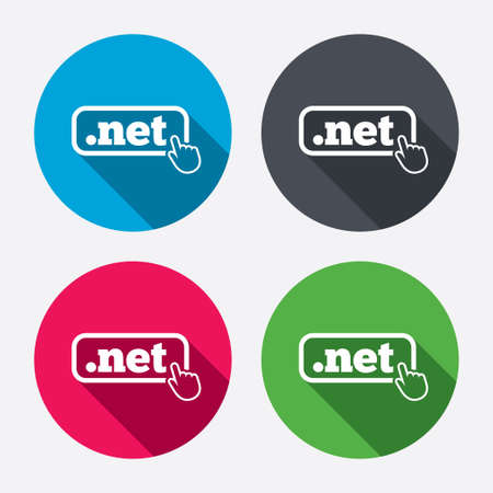 Domain NET sign icon. Top-level internet domain symbol with hand pointer. Circle buttons with long shadow. 4 icons set. Vector Vector