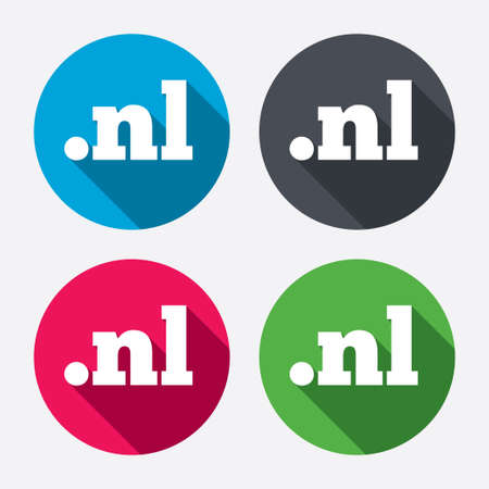 nl: Domain NL sign icon. Top-level internet domain symbol. Circle buttons with long shadow. 4 icons set. Vector Illustration