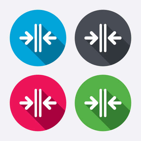 Close the door sign icon. Control in the elevator symbol. Circle buttons with long shadow. 4 icons set. Vector Illustration
