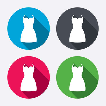 Woman dress sign icon. Elegant clothes symbol. Circle buttons with long shadow. 4 icons set. Vector Vector