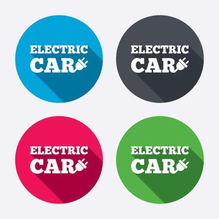 electric vehicle: Auto elettrica icona segno. Elettrico simbolo trasporto del veicolo. Pulsanti di cerchio con lunga ombra. 4 icone set. Vettore