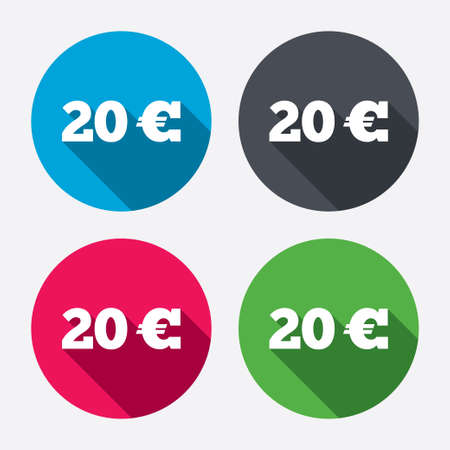 20 euro: 20 Euro sign icon. EUR currency symbol. Money label. Circle buttons with long shadow. 4 icons set. Vector Illustration