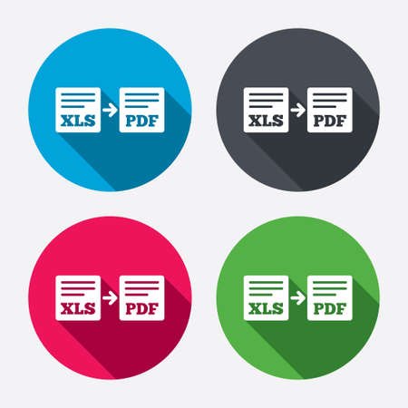 Export XLS to PDF icon. File document symbol. Circle buttons with long shadow. 4 icons set. Vector
