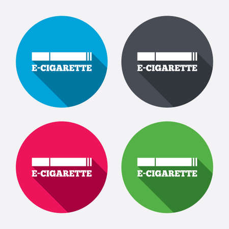 e cig: Smoking sign icon. E-Cigarette symbol. Electronic cigarette. Circle buttons with long shadow. 4 icons set. Vector