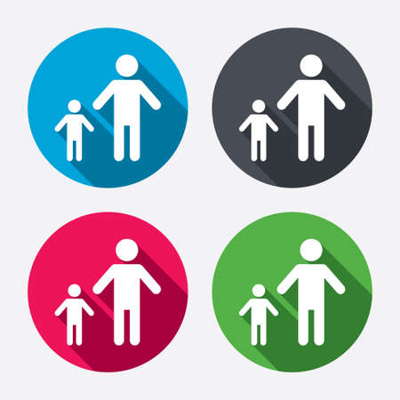 family with one child: One-parent family with one child sign icon. Father with son symbol. Circle buttons with long shadow. 4 icons set. Vector