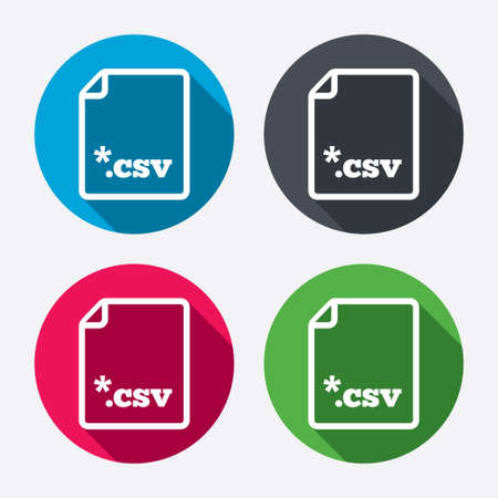 File document icon. Download tabular data file button. CSV file extension symbol. Circle buttons with long shadow. 4 icons set. Vector