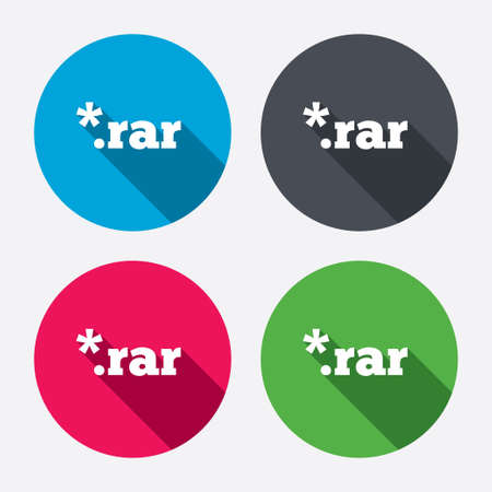 rar: Archive file icon. Download compressed file button. RAR zipped file extension symbol. Circle buttons with long shadow. 4 icons set. Vector