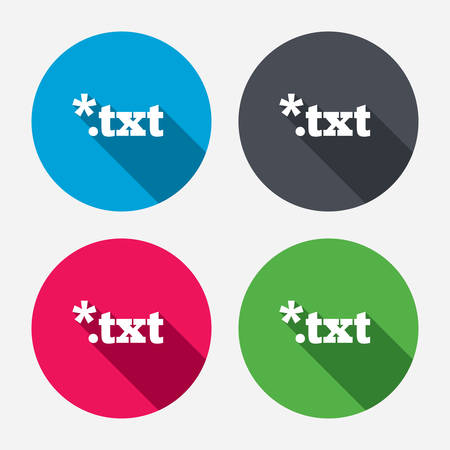 txt: Text file icon. Download txt doc button. Txt file extension symbol. Circle buttons with long shadow. 4 icons set. Vector