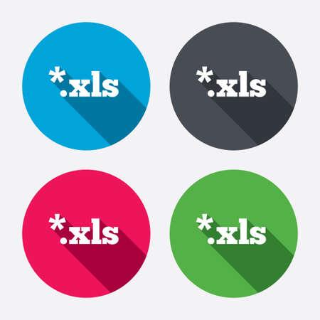 sobresalir: Icono de documento de archivo de Excel. Descargar bot�n xls. Archivo XLS s�mbolo extensi�n. Botones de c�rculo con larga sombra. 4 iconos conjunto. Vector