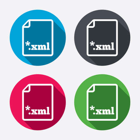 extensible: File document icon. Download XML button. XML file extension symbol. Circle buttons with long shadow. 4 icons set. Vector Illustration