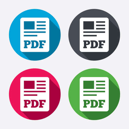 PDF file document icon. Download pdf button. PDF file symbol. Circle buttons with long shadow. 4 icons set. Vector Vector