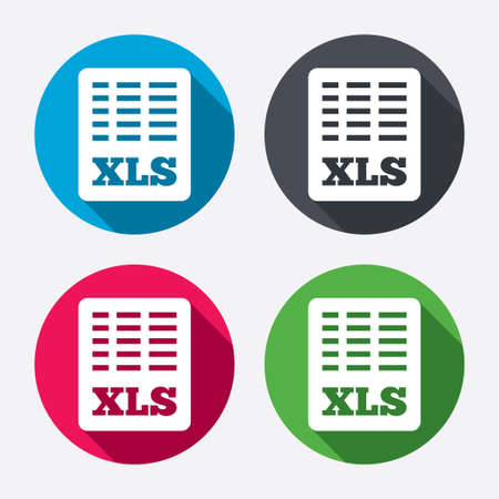 xls: Excel file document icon. Download xls button. XLS file symbol. Circle buttons with long shadow. 4 icons set. Vector