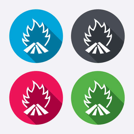 fire circle: Fire flame sign icon. Heat symbol. Stop fire. Escape from fire. Circle buttons with long shadow. 4 icons set. Vector Illustration