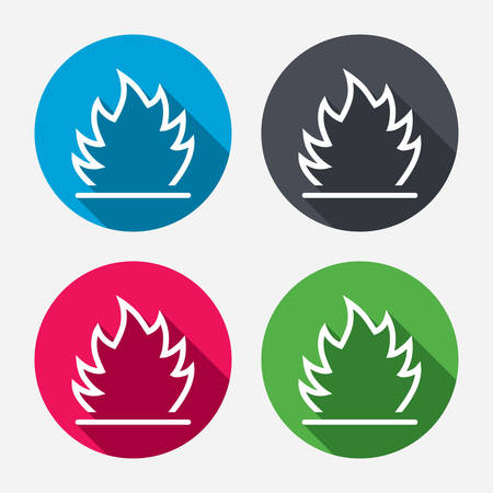 fire escape: Fire flame sign icon. Heat symbol. Stop fire. Escape from fire. Circle buttons with long shadow. 4 icons set. Vector Illustration