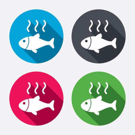 fry: Fish hot sign icon. Cook or fry fish symbol. Circle buttons with long shadow. 4 icons set. Vector