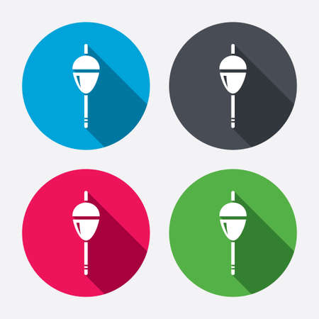 fishing bobber: Fishing sign icon. Float bobber symbol. Fishing tackle. Circle buttons with long shadow. 4 icons set. Vector Illustration