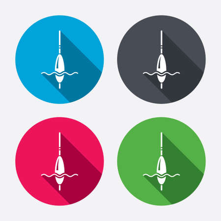 bobber: Fishing sign icon. Float bobber symbol. Fishing tackle. Circle buttons with long shadow. 4 icons set. Vector Illustration