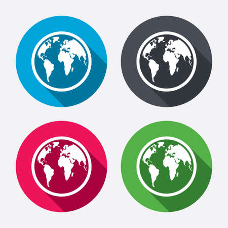geography: Globe sign icon. World map geography symbol. Circle buttons with long shadow. 4 icons set. Vector