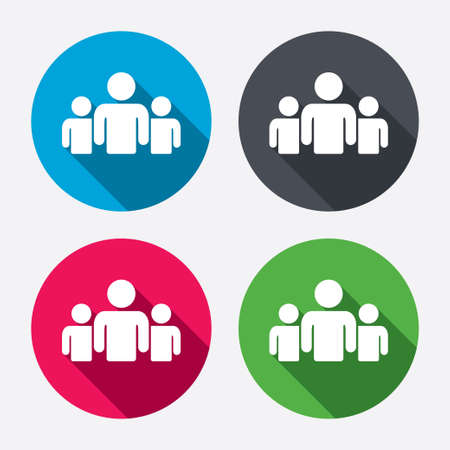 round icons: Group of people sign icon. Share symbol. Circle buttons with long shadow. 4 icons set. Vector
