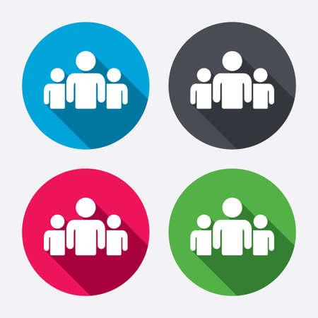 circulo de personas: Grupo de personas que firman icono. Compartir s�mbolo. Botones de c�rculo con larga sombra. 4 iconos conjunto. Vector Vectores