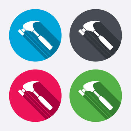 Hammer sign icon. Repair service symbol. Circle buttons with long shadow. 4 icons set. Vector Vector
