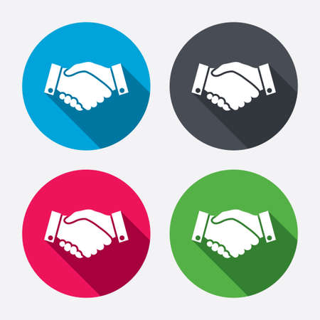 Handshake sign icon. Successful business symbol. Circle buttons with long shadow. 4 icons set. Vector