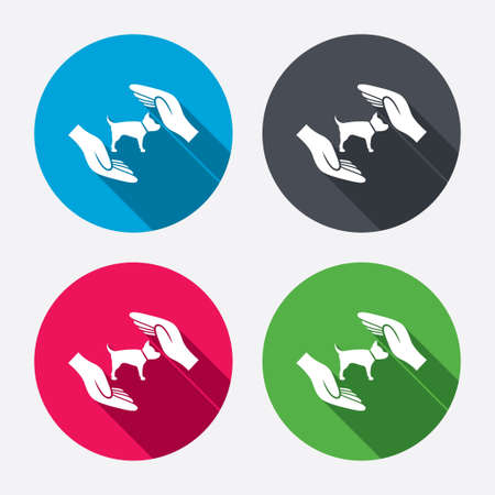 Protection of animals pets sign icon. Hands protect dog symbol. Shelter for dogs. Animals insurance. Circle buttons with long shadow. 4 icons set. Vector