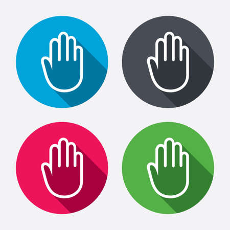 stop hand silhouette: Hand sign icon. No Entry or stop symbol. Give me five. Circle buttons with long shadow. 4 icons set. Vector