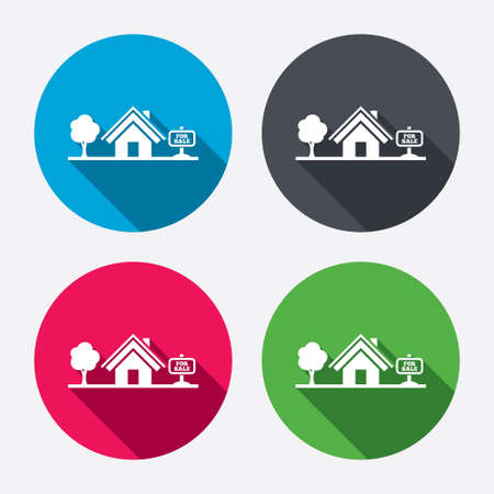 house for sale: Home sign icon. House for sale. Broker symbol. Circle buttons with long shadow. 4 icons set. Vector