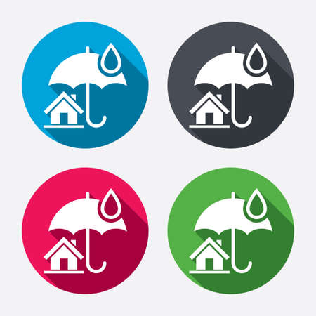 belay: Home insurance sign icon. Real estate insurance symbol. Circle buttons with long shadow. 4 icons set. Vector