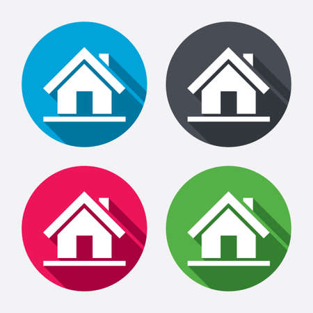 page long: Home sign icon. Main page button. Navigation symbol. Circle buttons with long shadow. 4 icons set. Vector