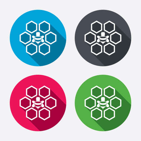 Honeycomb with bee sign icon. Honey cells symbol. Sweet natural food. Circle buttons with long shadow. 4 icons set. Vector Vector