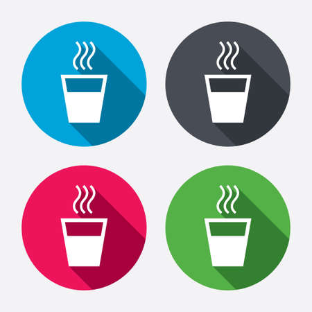 long drink: Hot water sign icon. Hot drink glass symbol. Circle buttons with long shadow. 4 icons set. Vector