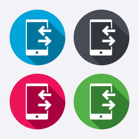 outcoming: Incoming and outcoming calls sign icon. Smartphone symbol. Circle buttons with long shadow. 4 icons set. Vector