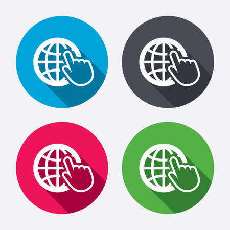world wide web: Internet sign icon. World wide web symbol. Cursor pointer. Circle buttons with long shadow. 4 icons set. Vector