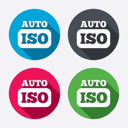 hosszú expozíció: ISO Auto fényképezőgép jele ikonra. Beállítások szimbóluma. Kör gombok hosszú árnyéka. 4 ikonok meg. Vektor