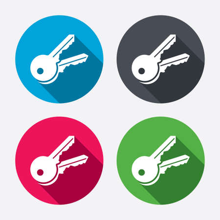 Clés signent icône. Débloquez symbole de l'outil. boutons de Cercle avec ombre. 4 icons set. Vecteur Banque d'images - 34669373