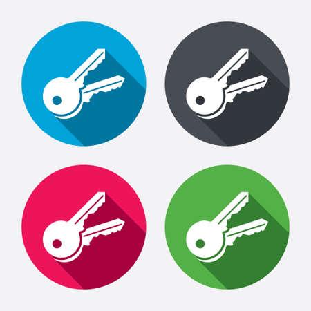Keys sign icon. Unlock tool symbol. Circle buttons with long shadow. 4 icons set. Vector Ilustração