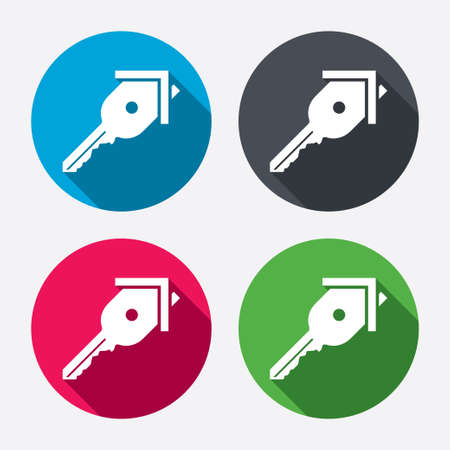 open house: Key from the house sign icon. Unlock tool symbol. Circle buttons with long shadow. 4 icons set. Vector