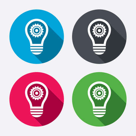 light shadow: Light lamp sign icon. Bulb with gear symbol. Idea symbol. Circle buttons with long shadow. 4 icons set. Vector