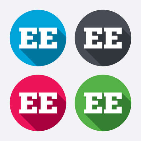 estonian: Estonian language sign icon. EE translation symbol. Circle buttons with long shadow. 4 icons set. Vector Illustration